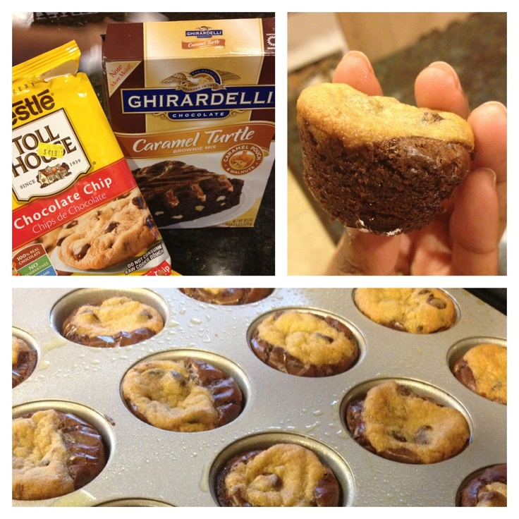 Mini Brookies (brownie-cookies)  All I did was scoop some cookie dough in brownie batter and bake on 350 for 15 minutes