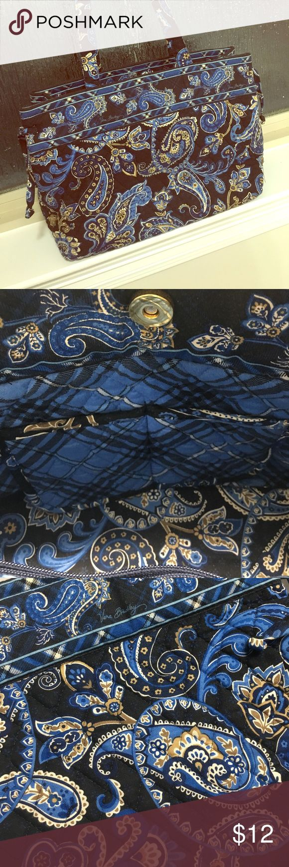 """Vera Bradley Tote Bag - Retired Pattern Small Vera Bradley Tote Bag in retired pattern """"Windsor Navy."""" Magnetic snap closure. Two small interior slip pockets, plus one zippered pouch. Excellent used condition. Vera Bradley Bags Totes"""