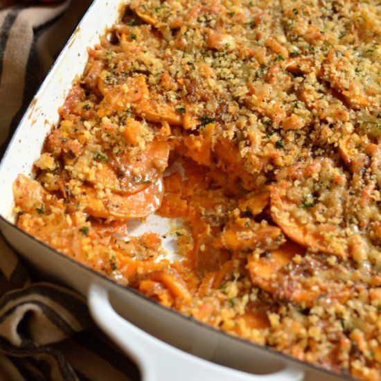 and sweet potato gratin sweet potato gratin with caramelized onions ...