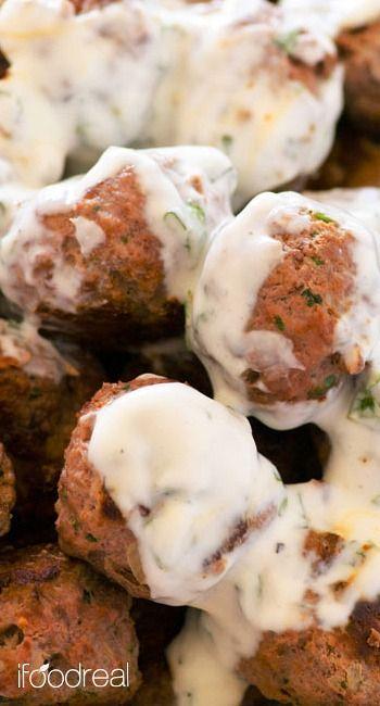Greek Turkey Meatballs with Mint Yogurt Sauce | Recipe