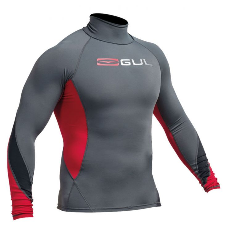 GUL Lycra Xola long sleeve Ash/Red - Surfline.dk