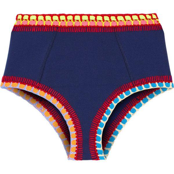 Kiini Tasmin crochet-trimmed bikini briefs (2 015 ZAR) ❤ liked on Polyvore featuring swimwear, bikinis, kiini, navy, crochet bikini bottom, blue bikini bottoms and swim bikini bottoms