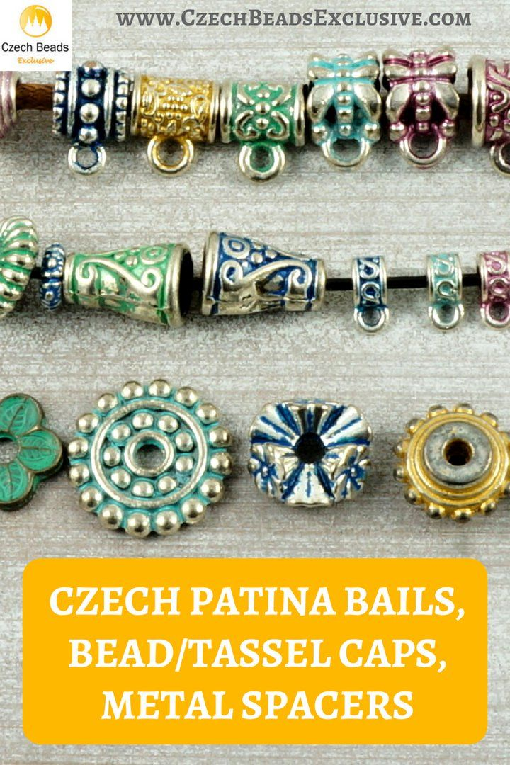 ☕ Czech Patina Bails, Bead/Tassel Caps, Metal Spacers  6 Popular Colors! Czech Patina Metal Spacers, Bails, Bead/Tassel Caps! - Buy now with discount! www.CzechBeadsExclusive.com/+czech+patina  Hurry up - sold out very fast! SAVE them! #czechbeadsexclusive #czechbeads