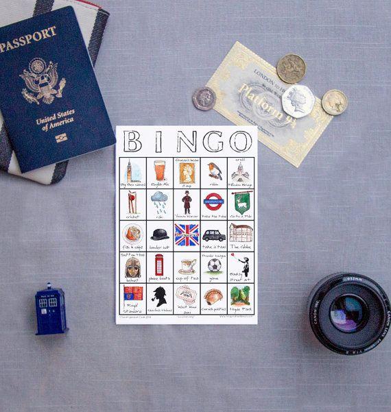 PRINTABLE London Travel Bingo   Sarah Lambert Cook on Etsy