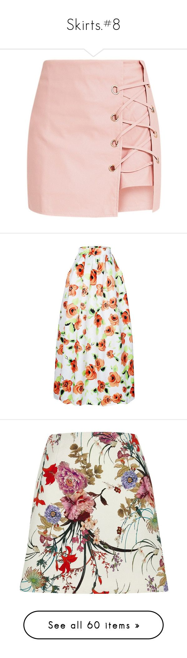 """Skirts.#8"" by julidrops ❤ liked on Polyvore featuring pink skort, golf skirts, skirts, rosegal, high waisted floral skirt, white high waisted skirt, high waisted long skirt, high waisted floral maxi skirt, white maxi skirt and mini skirts"