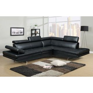 Nathaniel Home Logan Collection Black Bonded Leather 2-piece Sectional Sofa Set | Overstock.com Shopping - The Best Deals on Sectional Sofas