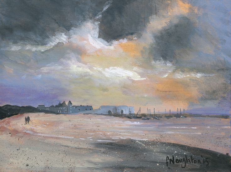 BEADNELL HARBOUR The transient fluidity of the Northumberland sky above a tranquil Beadnell. The limited edition print was made from an original acrylic painting on canvas.  Format: Limited edition Giclee printed on Epson Enhanced Matt 192gsm  Print size: 25 x 34cm  Mounted size: 43 x 49cm  FREE UK mainland standard delivery on all orders