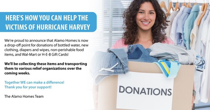 We're proud to announce that Alamo Homes is now a drop-off point for donations of bottled water, new clothing, diapers and wipes, non-perishable food items, and Wal-Mart or H-E-B Gift Cards! We'll be collecting these items and transporting them to various relief organizations over the coming weeks. Together WE can make a difference! Thank you for your support! The Alamo Homes Team