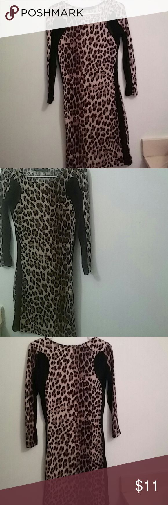 Sexy leopord sheer mini dress Stretchy material Sheer on the sides Above the knees Tight Very comfortable Dresses Mini