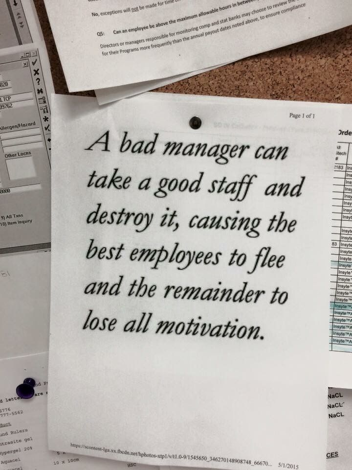 Bad managerboss cause good employees to leave