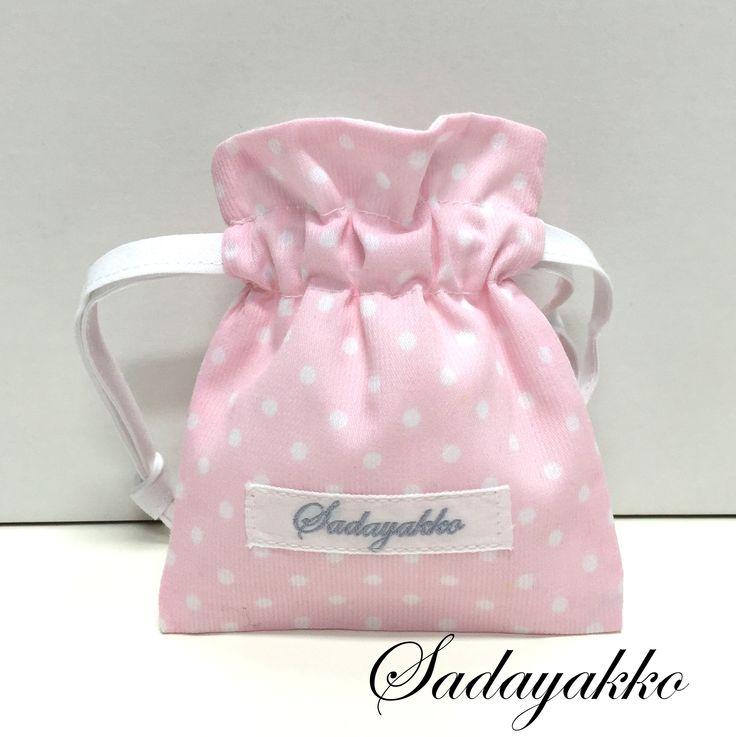 bolsa para chupetes rosa topos blancos sadayakko