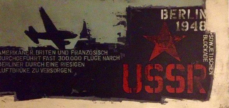 """BERLIN - Sowjetischen Blockade 2015 24"""" x 48"""" acrylique sur bois http://alecsurfaces.blogspot.ca/"""