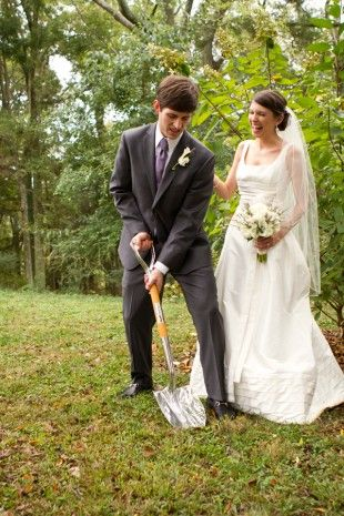 11 Southern Wedding Traditions: No. 5 Bury The Bourbon- Since so many Southern Weddings take place outdoors, rain is a really big deal. In order to prevent it from raining on your wedding day, exactly one month from your wedding you are supposed to bury a full bottle of bourbon upside down at the spot you will be married. After the ceremony, the bride and groom dig up the bourbon and take a few swigs before heading to the reception.