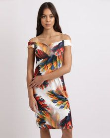 G Couture Off The Shoulder Printed Dress Multi