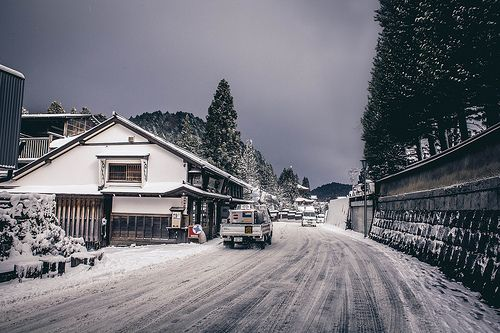 We were walking through one of the main roads in Koya right before a massive snowstorm hit, the sky became dark and made for a pretty ominous photograph. This road leads down to the only way up and down from the summit.