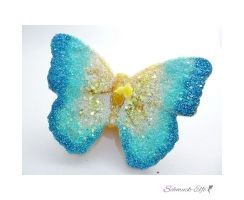 Kerze Schmetterling mit Glitzer Butterfly bunte Vielfalt...