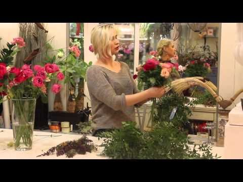 Уроки флористики. Анастасия Егорова - Летний букет на каркасе из ротанга. - YouTube