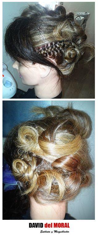 #Recogido con #trenza #espiga lateral #semirecogido #trenzado #trenzas #rizado #ondas #tirabuzones #estilo #estilismo #femme #evento #ghd #hair #cabello #peinado #tupe #hairstyle