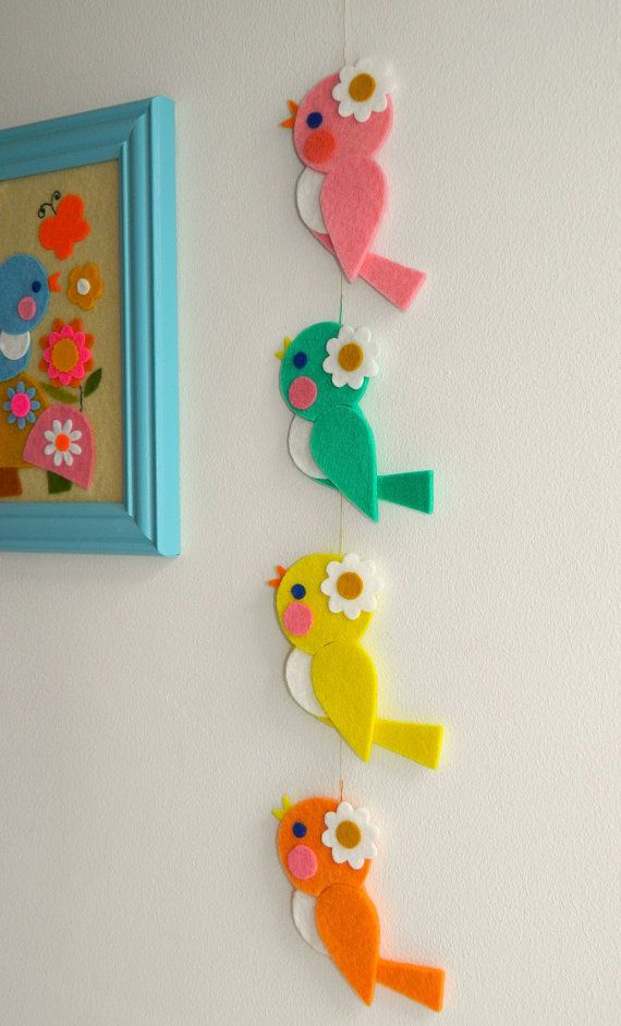 1 Wool Felt Retro Birdie Hanging Decoration Yellow by aliceapple
