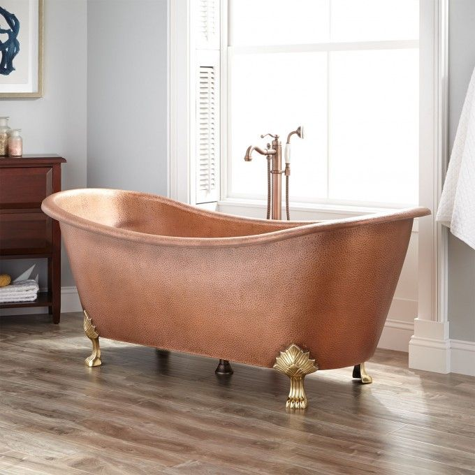 78 Extra Wide Marcy Hammered Copper Double Slipper Tub Nickel Interior Bathtubs Bathroom Clawfoot Tub Copper Clawfoot Tubs Copper Tub
