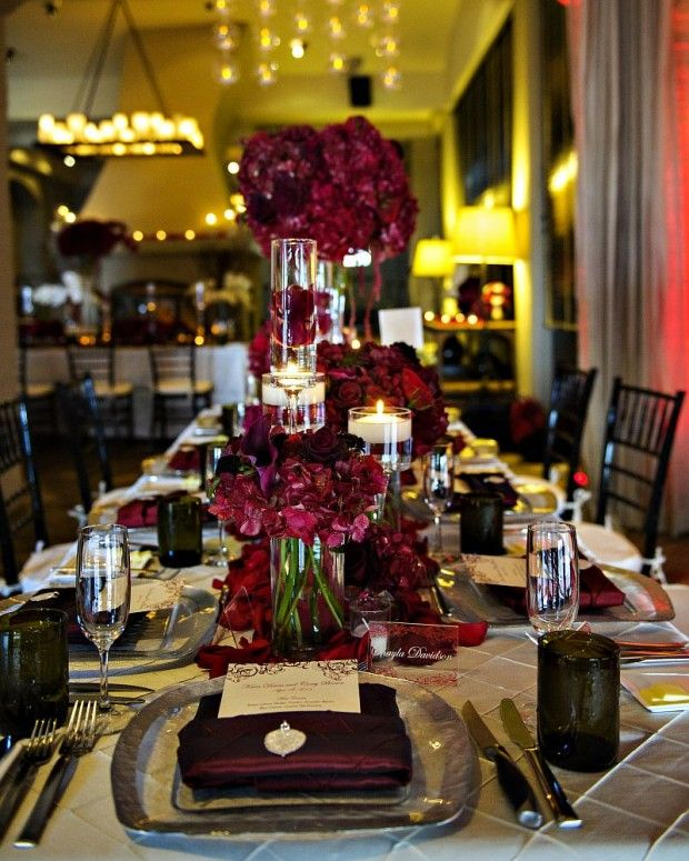 Burgundy And Gold Wedding Decorations: Burgandy Flowers And Candles For A Modern Centerpiece