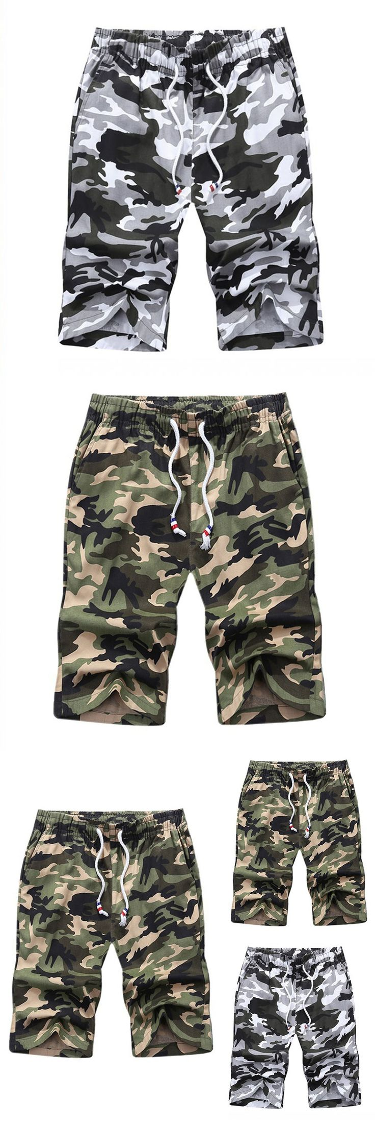 New Summer Style Casual Fashion Men's Shorts Straight Knee Length Camouflage Brand Clothing Hot Sale Plus Size