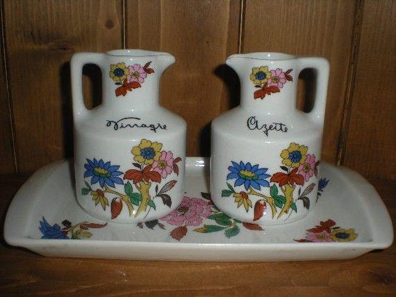 Porcelain Oil and Vinegar Set with Tray  by MarcelandMargolis