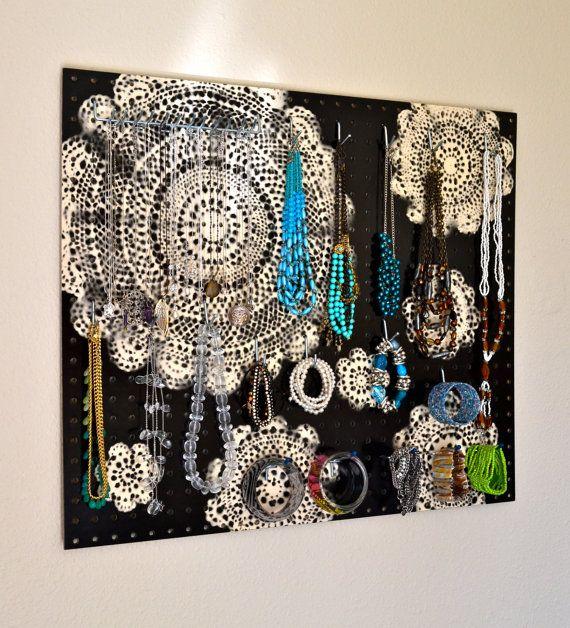 Jewelry Organizer Wall Display, Jewelry Holder, Custom, Hand Painted, Black, Ivo…