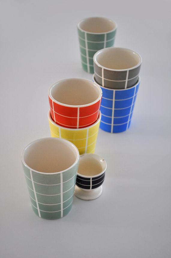 Waechtersbach beakers and egg cup