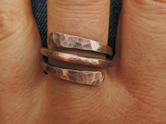 Wrap Copper Ring  Hammered copper ring for him by MateriaMorfosi