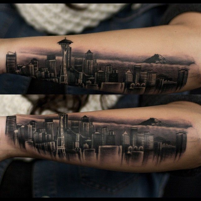#Seattle #seattletattoos #tattoo #skyline #rainier #mountrainier