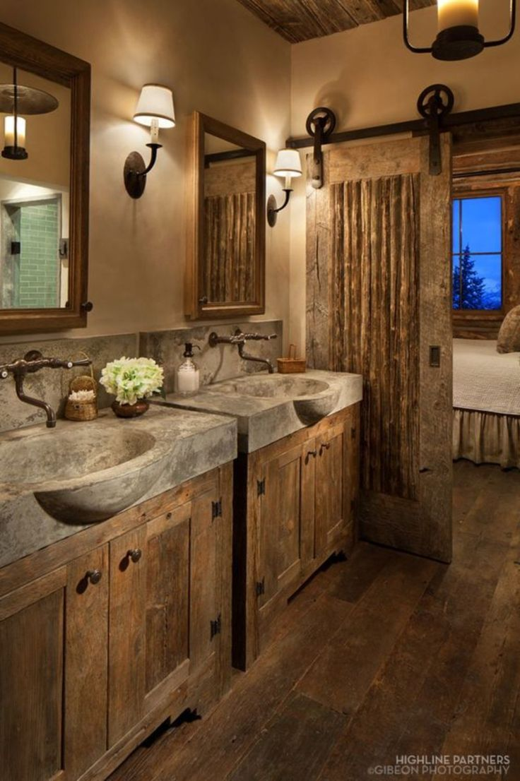 Rustic master bathroom with log walls amp undermount sink zillow digs - 46 Wonderful Rustic Bathroom Decorating Ideas
