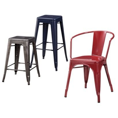 Carlisle Metal Dining Collection Tolix style chairs and