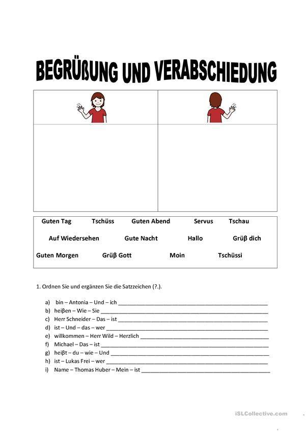 begr ung und verabschiedung deutsch printable worksheets worksheets esl. Black Bedroom Furniture Sets. Home Design Ideas