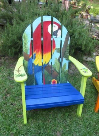 tropical painted furniture. painted adirondacks tropical parrot this is very pretty furniture