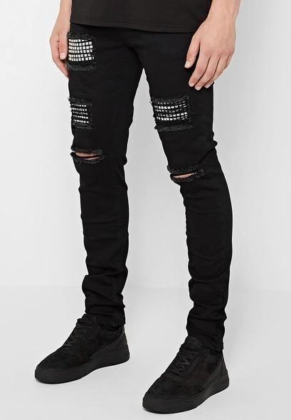 Black Skinny Jeans For Men Denim Stretch Slim Fit Jeans