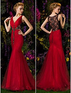 Trumpet/Mermaid V-neck Sweep/Brush Train Lace And Tulle Even... – USD $ 249.99