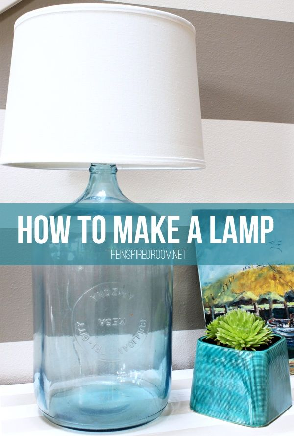 How to make a lamp: Consult an electrician. Glass jug, lamp socket/cord (cork kit @ Lowes), wire ring lampshade, set socket in spout of jug, pull cord to the side to it comes out of the spout, use a hot glue gun to stabilize the socket. http://theinspiredroom.net/2013/06/26/how-to-make-a-lamp-diy-bottle-lamp/