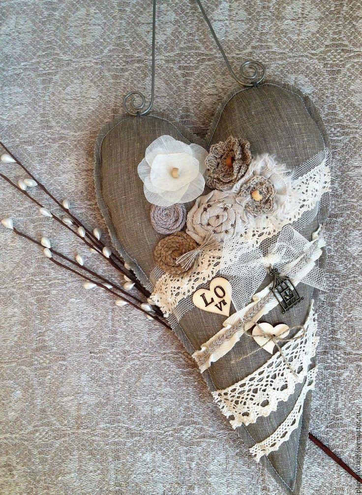 Купить интерьерное сердце большое в стиле рустик - сердце, сердце в подарок, сердце тильда