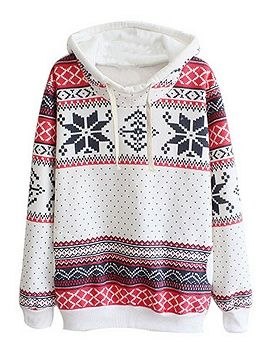 Shop White Geo And Polka Dot Print Drawstring Hoodie from choies.com .Free shipping Worldwide.$12.9