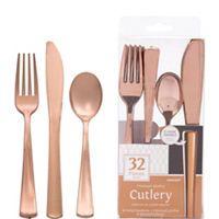 White Rose Gold Premium Tableware - Rose Gold Trim Premium Plastic Plates - Party City