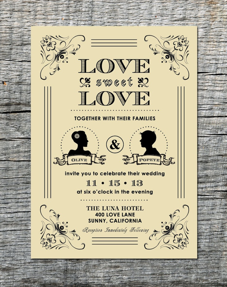 Vintage Wedding Invitation  RSVP Card with Silhouette of Couple - Hand Drawn Graphics - DIY Printable. $45.00, via Etsy.