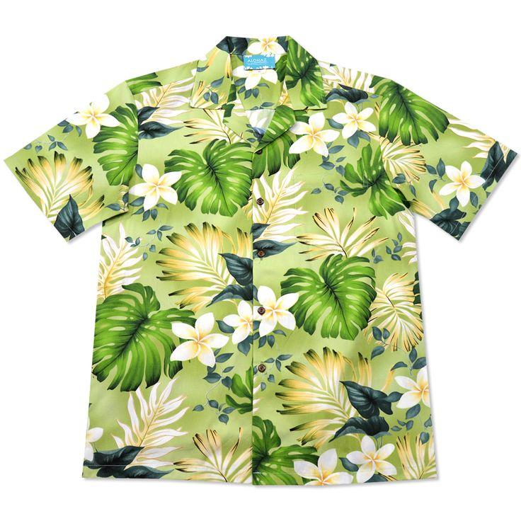 amazon green hawaiian cotton shirt