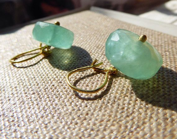 Aqua green Fluorite Drops 18K gold Kidney wire solid gold
