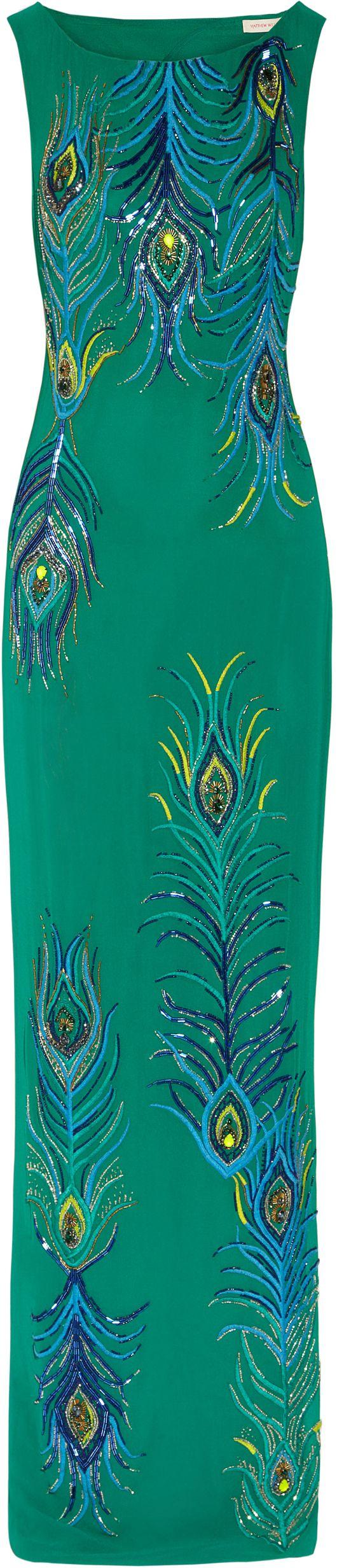 beaded peacock pattern | 342094 Matthew Williamson PEACOCK BEADED CUTOUT COLUMN DRESS NET A ...