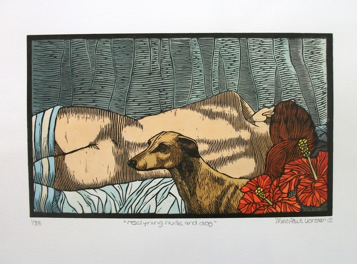 Theo Paul Vorster: Hand painted linocut print http://printgallery.co.za/portfolio.php?users_id=753