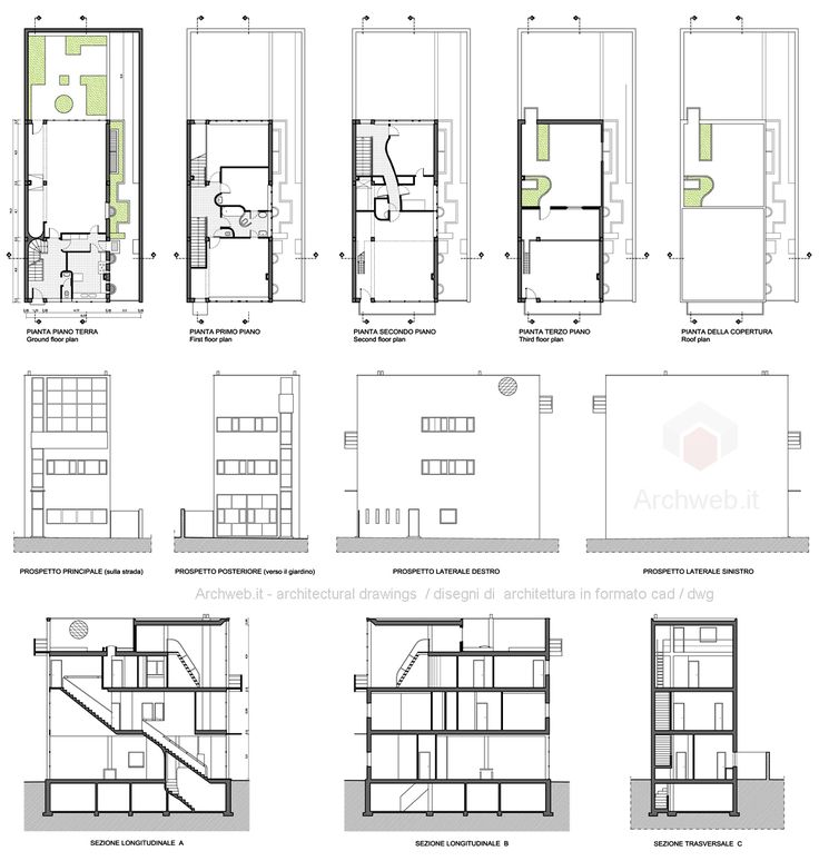 Best Architectural Plans And Sections Images On Pinterest
