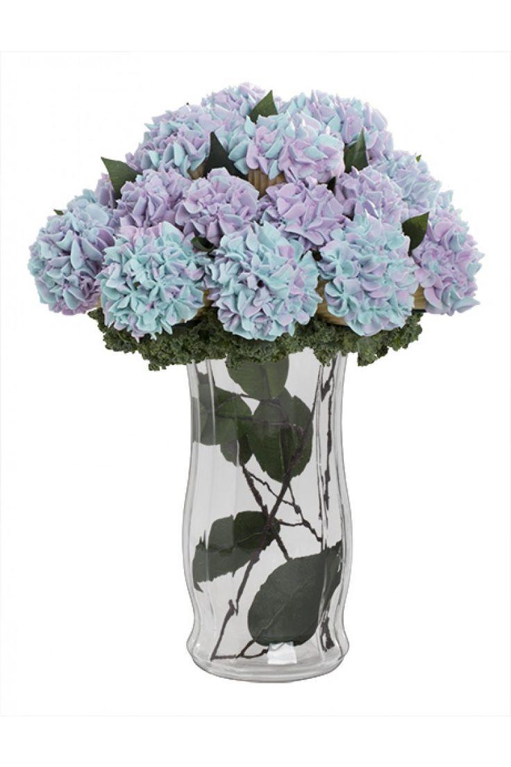 Purple Hydrangea Cupcake Bouquet