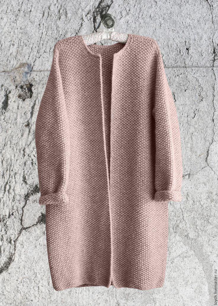 Купить Пальто Оверсайз Вязаное Норка (Цвет Пудра) - однотонный, цвет пудра, пудровый цвет