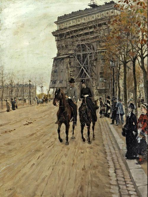 Giuseppe De Nittis (Italian 1846–1884) [Impressionism, Salon] A ride along the Avenue des Champs-Elysées, 1875.
